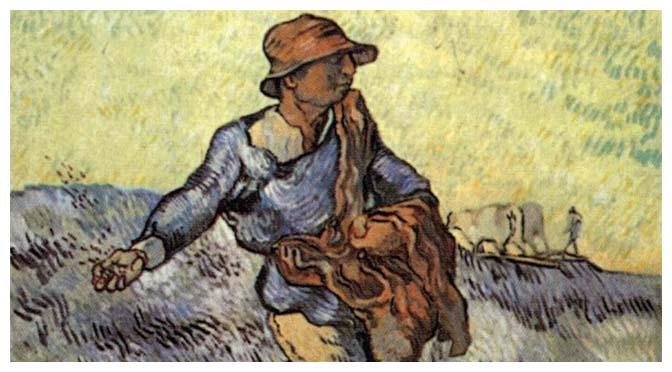 Deus semeando trigo no seu campo